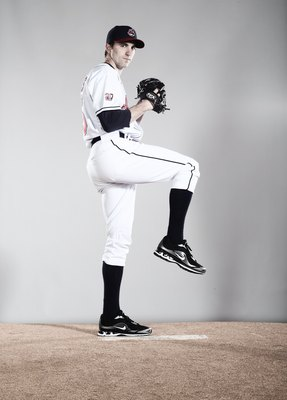 GOODYEAR, AZ - FEBRUARY 28:  (EDITORS NOTE: This images was digitally desaturated.) Jeremy Sowers #45 poses for a portrait during the Cleveland Indians Photo Day at the training complex at Goodyear Stadium on February 28, 2010 in Goodyear, Arizona.  (Phot
