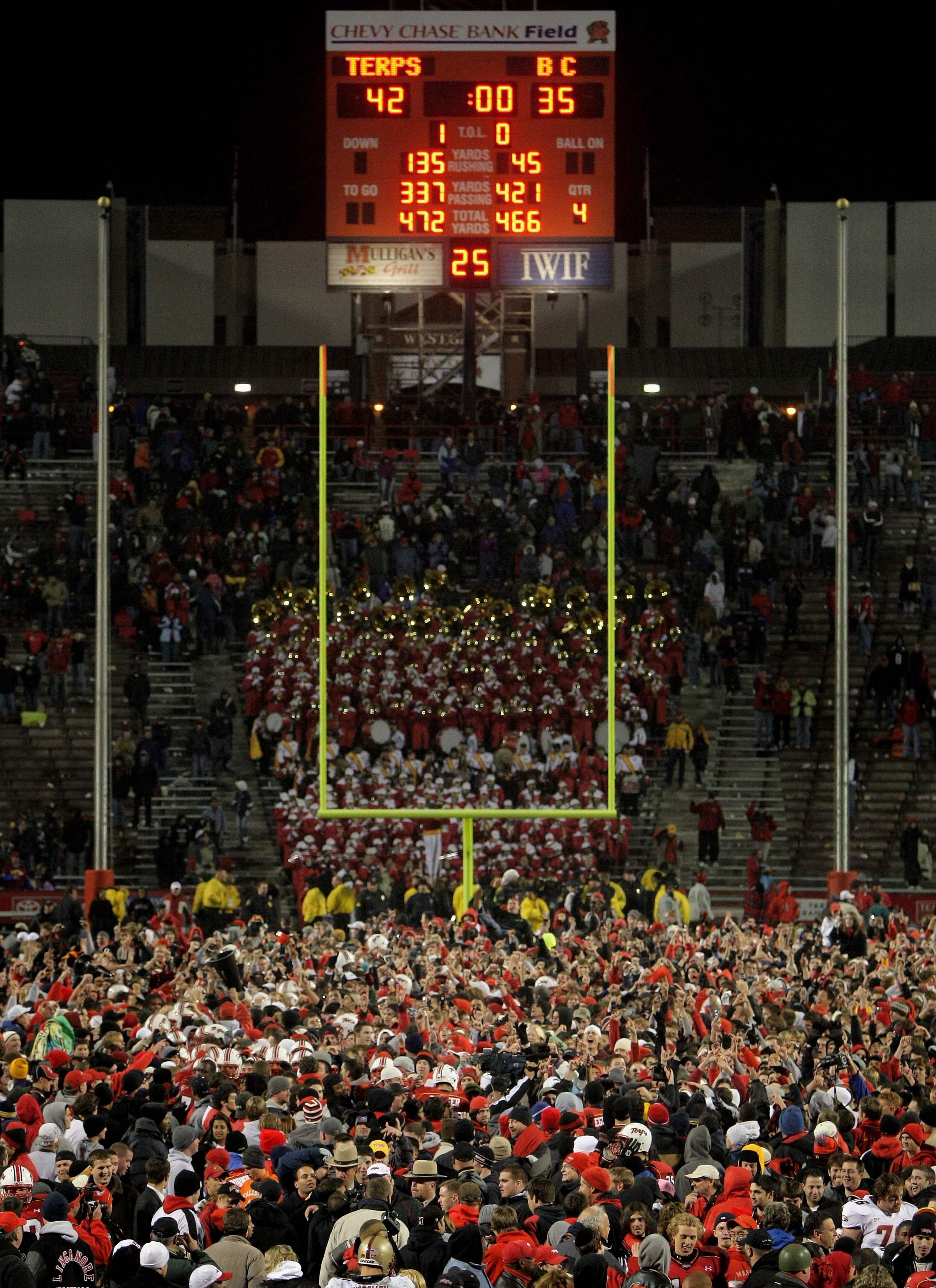 COLLEGE PARK, MD - NOVEMBER 10:  Maryland fans flooded the field after the Maryland Terrapins defeated the Boston College Eagles 42-35 at Byrd Stadium on November 10, 2007 in College Park, Maryland.  (Photo by Doug Pensinger/Getty Images)
