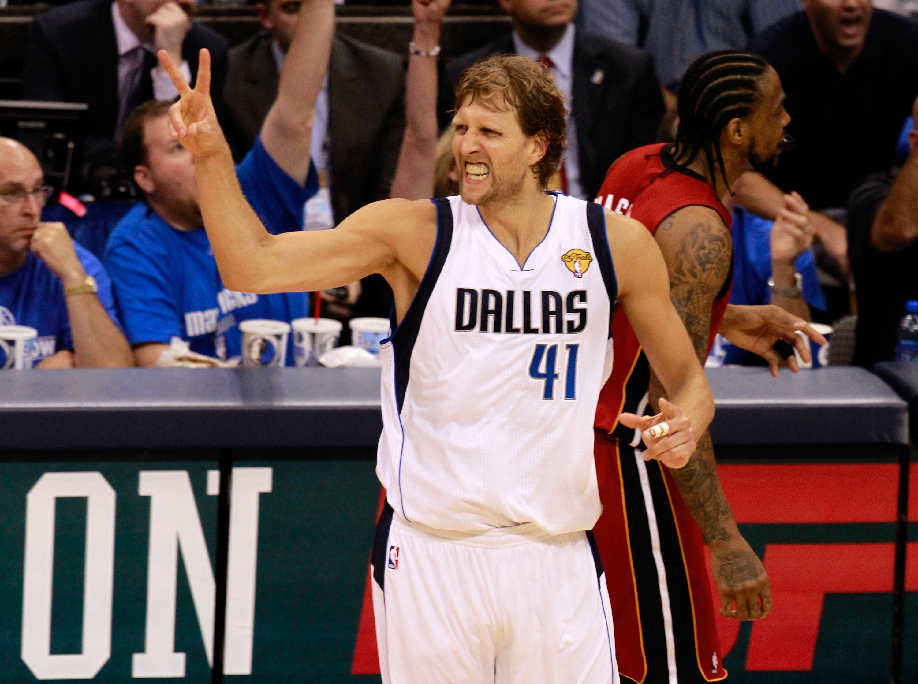 DALLAS, TX - JUNE 05:  Dirk Nowitzki #41 of the Dallas Mavericks reacts in the second half while taking on the Miami Heat in Game Three of the 2011 NBA Finals at American Airlines Center on June 5, 2011 in Dallas, Texas.  NOTE TO USER: User expressly ackn