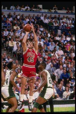 1990:  Forward Ed Nealy of the Chicago Bulls prepares to shoot the ball during a game against the Milwaukee Bucks at the Bradley Center in Milwaukee, Wisconsin. Mandatory Credit: Allsport  /Allsport