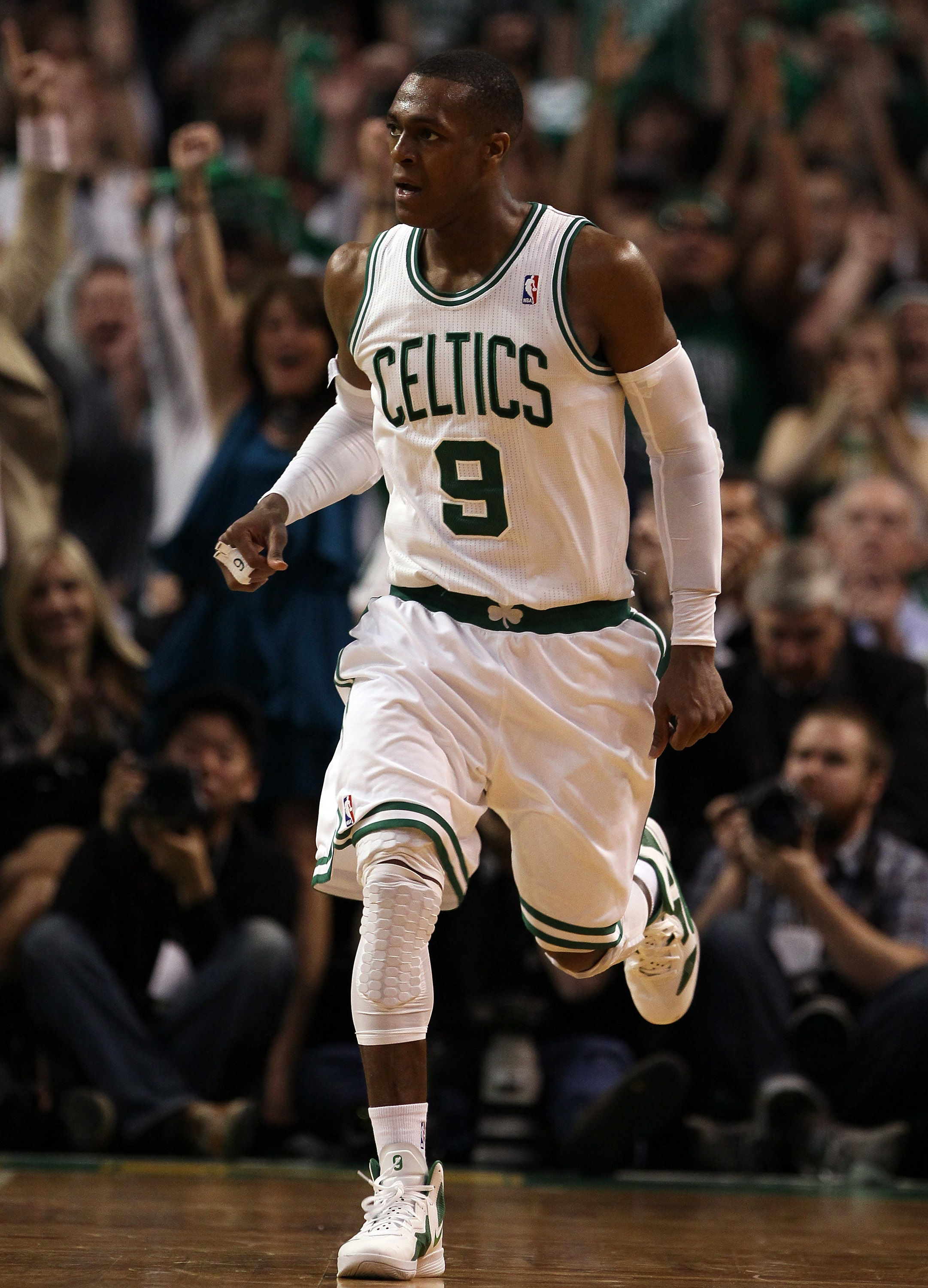 BOSTON, MA - MAY 07: Rajon Rondo #9 of the Boston Celtics heads down court after he scored on a break away in the second half against the Miami Heat in Game Three of the Eastern Conference Semifinals in the 2011 NBA Playoffs on May 7, 2011 at the TD Garde