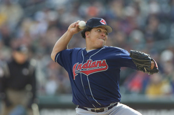 06 Apr 2002 :  Bartolo Colon #40 of the Cleveland Indians delivers a pitch against the Detroit Tigers during the game at Comercia Park in Detroit, Michigan . The Indians won 5-3. DIGITAL IMAGE.  Mandatory Credit: Tom Pidgeon /Getty Images