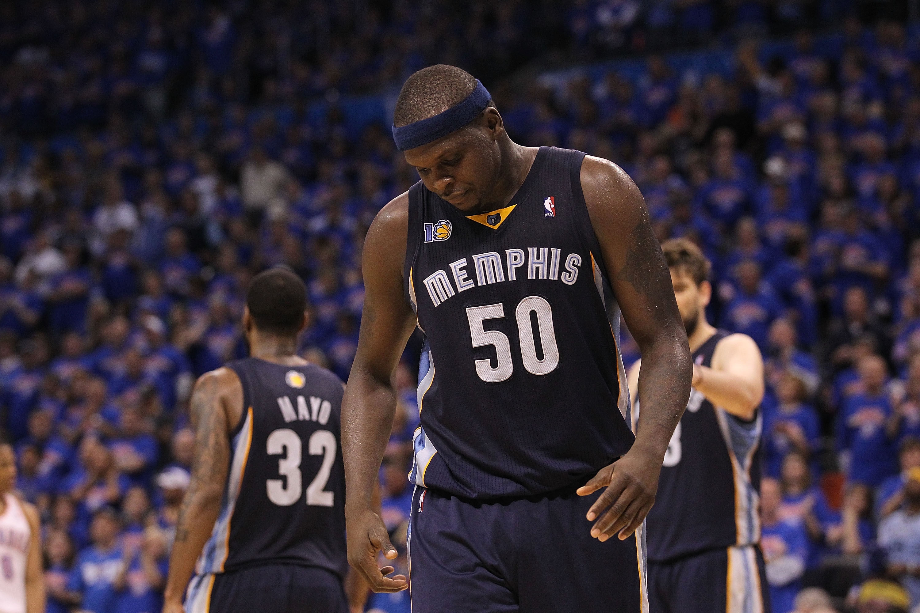 OKLAHOMA CITY, OK - MAY 15:  Forward Zach Randolph #50 of the Memphis Grizzlies reacts during a 90-105 loss against the Oklahoma City Thunder in Game Seven of the Western Conference Semifinals in the 2011 NBA Playoffs on May 15, 2011 at Oklahoma City Aren
