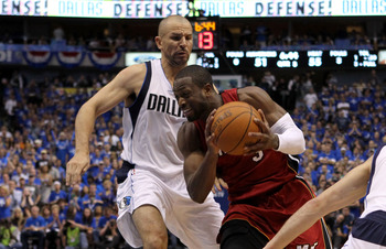 DALLAS, TX - JUNE 05:  Dwyane Wade #3 of the Miami Heat drives on Jason Kidd #2 of the Dallas Mavericks in the third quarter in Game Three of the 2011 NBA Finals at American Airlines Center on June 5, 2011 in Dallas, Texas.  NOTE TO USER: User expressly a