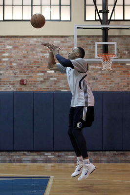 DALLAS, TX - JUNE 04:  Shawn Marion of the Dallas Mavericks shoots around on the practice court during a practice session prior to Game 3 of the 2011 NBA Finals at the American Airlines Center on June 4, 2011 in Dallas, Texas. NOTE TO USER: User expressly