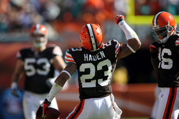 MIAMI - DECEMBER 05:  Defensive back Joe Haden #23 of the Cleveland Browns celebrates intercepting the ball against the Miami Dolphins at Sun Life Stadium on December 5, 2010 in Miami, Florida.  Cleveland defeated Miami 13-10. (Photo by Marc Serota/Getty