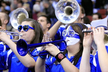 NEWARK, NJ - MARCH 27:  Members of the Kentucky Wildcats band, perform during their game against the North Carolina Tar Heels in the east regional final of the 2011 NCAA men's basketball tournament at Prudential Center on March 27, 2011 in Newark, New Jer