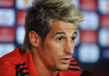 BRAGA, PORTUGAL - MAY 04: Fabio Coentrao of Benfica holds a news conference at Estadio Municipal de Braga the day before the UEFA Europa League semi-final second leg match between Braga and Benfica on May 4, 2011 in Braga, Portugal.  (Photo by Denis Doyle