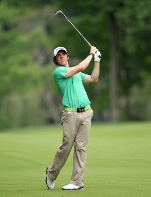DUBLIN, OH - JUNE 05:  Rory McIlroy of Northern Ireland hits his second shot on the par 4 9th hole during the final round of the Memorial Tournament presented by Nationwide Insurance at Muirfield Village Golf Club on June 5, 2011 in Dublin, Ohio.  (Photo