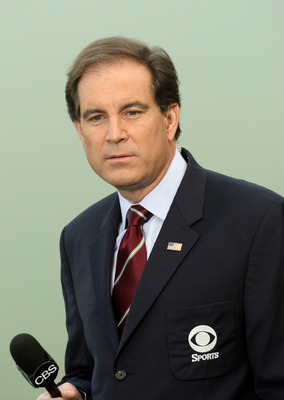 AUGUSTA, GA - APRIL 10:  Jim Nantz, anchor of CBS's golf coverage, works during the first round of the 2008 Masters Tournament at Augusta National Golf Club on April 10, 2008 in Augusta, Georgia.  (Photo by David Cannon/Getty Images)