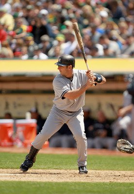 OAKLAND, CA - MAY 30:  Jorge Posada #20 of the New York Yankees bats against the Oakland Athletics at Oakland-Alameda County Coliseum on May 30, 2011 in Oakland, California.  (Photo by Ezra Shaw/Getty Images)