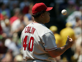 ANAHEIM, CA - JUNE 19:  Bartolo Colon #40 of the Los Angeles Angels of Anaheim prepares to pitch in the first inning against the Houston Astros on June 19, 2007 at Angels Stadium in Anaheim, California.  (Photo by Lisa Blumenfeld/Getty Images)