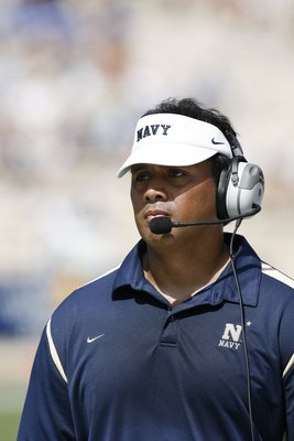 DURHAM, NC - SEPTEMBER 13:  Head coach Ken Niumatalolo of the Navy Midshipmen looks on during the game against the Duke Blue Devils at Wallace Wade Stadium on September 13, 2008 in Durham, North Carolina.  (Photo by Kevin C. Cox/Getty Images)