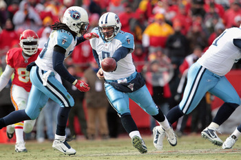 KANSAS CITY, MO - DECEMBER 26:  Quarterback Kerry Collins #5 of the Tennessee Titans in action during the game against the Kansas City Chiefs on December 26, 2010 at Arrowhead Stadium in Kansas City, Missouri.  (Photo by Jamie Squire/Getty Images)