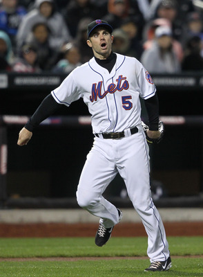 NEW YORK, NY - APRIL 21:  David Wright #5 of the New York Mets reacts after overthrowing to first base against the Houston Astros at Citi Field on April 21, 2011 in the Flushing neighborhood of the Queens borough of New York City.  (Photo by Nick Laham/Ge