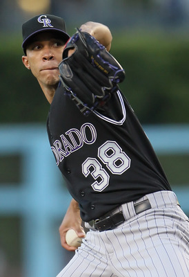 LOS ANGELES, CA - JUNE 01:  Ubaldo Jimenez #38 of the Colorado Rockies pitches against the Los Angeles Dodgers in the first inning at Dodger Stadium on June 1, 2011 in Los Angeles, California.  (Photo by Jeff Gross/Getty Images)