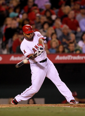 ANAHEIM, CA - MAY 7:   Vernon Wells #10 of the Los Angeles Angels of Anaheim picks up an RBI in the sixth inning with a sacrifice fly against the Cleveland Indians on May 7, 2011 at Angel Stadium in Anaheim, California.    (Photo by Stephen Dunn/Getty Ima