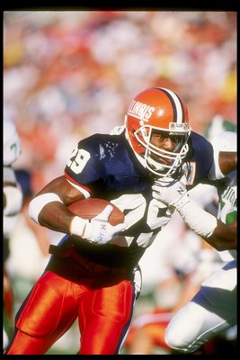 27 Oct 1990: Running back Howard Griffith of the Illinois Fighting Illini looks on during a game against the Michigan State Spartans. The Illinois Fighting Illini won the game 15-13.