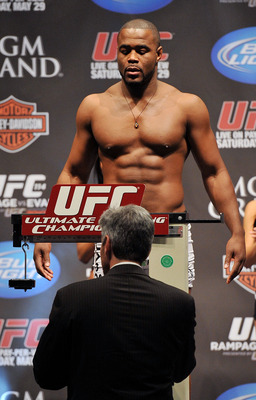 LAS VEGAS - MAY 28:  UFC fighter Rashad Evans weighs in for his fight against UFC fighter Quinton 'Rampage' Jackson at UFC 114: Rampage versus Rashad at the Mandalay Bay Hotel on May 28, 2010 in Las Vegas, Nevada.  (Photo by Jon Kopaloff/Getty Images)
