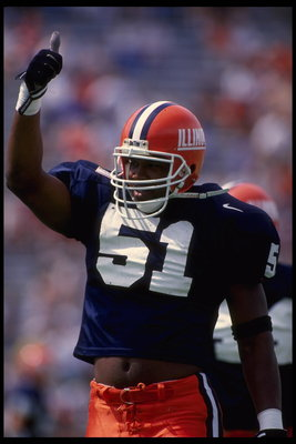 2 Sep 1995:  Linebacker Kevin Hardy of the University of Illinois gives a thumbs-up during the Fighting Illini 38-14 loss to the University of Michigan at Memorial Stadium in Champaign, Illinois.  Mandatory Credit:  Brian Bahr/Allsport