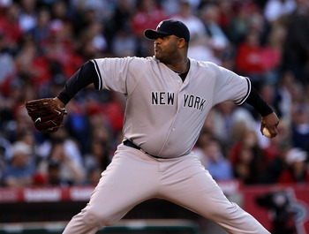 ANAHEIM, CA - JUNE 04:  CC Sabathia #55 of the New York Yankees throws a pitch against the Los Angeles Angels of Anaheim on June 4, 2011 at Angel Stadium in Anaheim, California.  (Photo by Stephen Dunn/Getty Images)