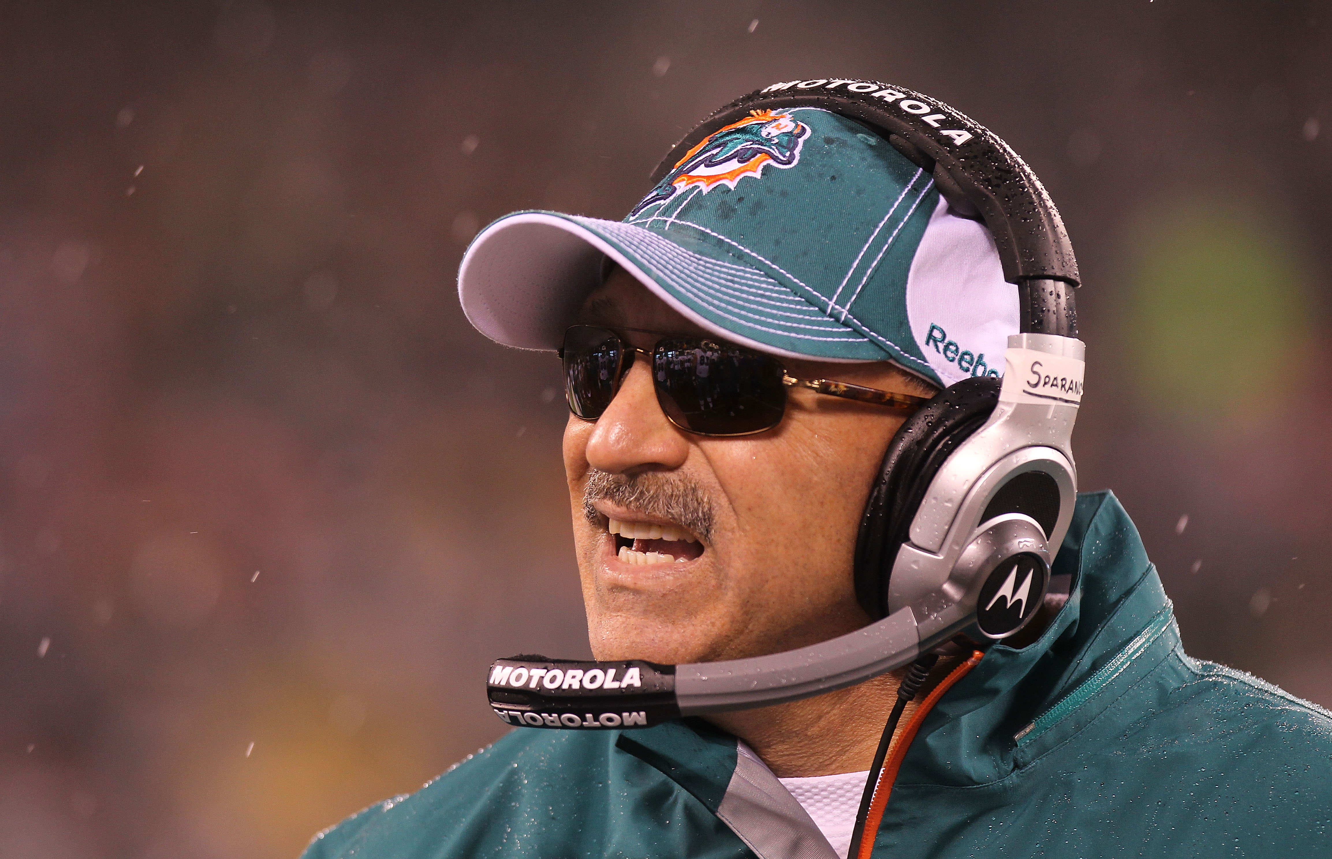 EAST RUTHERFORD, NJ - DECEMBER 12:  Head coach of the Miami Dolphins, Tony Sparano on the sideline against the New York Jets at New Meadowlands Stadium on December 12, 2010 in East Rutherford, New Jersey.  (Photo by Nick Laham/Getty Images)