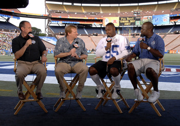 NFL commissioner Roger Goodell on the NFL Network set  during the Ohana Day  AFC practice for the 2007 Pro Bowl at Aloha Stadium, Honolulu, Hawaii on February 9, 2007.  Left to right: Rich Eisen; Goodell; Derrick Brooks and Marshall Faulk.  (Photo by Al M