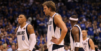 DALLAS, TX - JUNE 05:  (L-R) Shawn Marion #0, Dirk Nowitzki #41, Jason Terry #31 and Jason Kidd #2 of the Dallas Mavericks walk towards the bench against the Miami Heat in Game Three of the 2011 NBA Finals at American Airlines Center on June 5, 2011 in Da