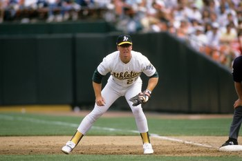 OAKLAND, CA - 1989:  Mark McGwire #25 of the Oakland Athletics plays first base during a game in the 1989 season at Oakland-Alameda County Coliseum in Oakland, California. (Photo by Otto Greule Jr/Getty Images)