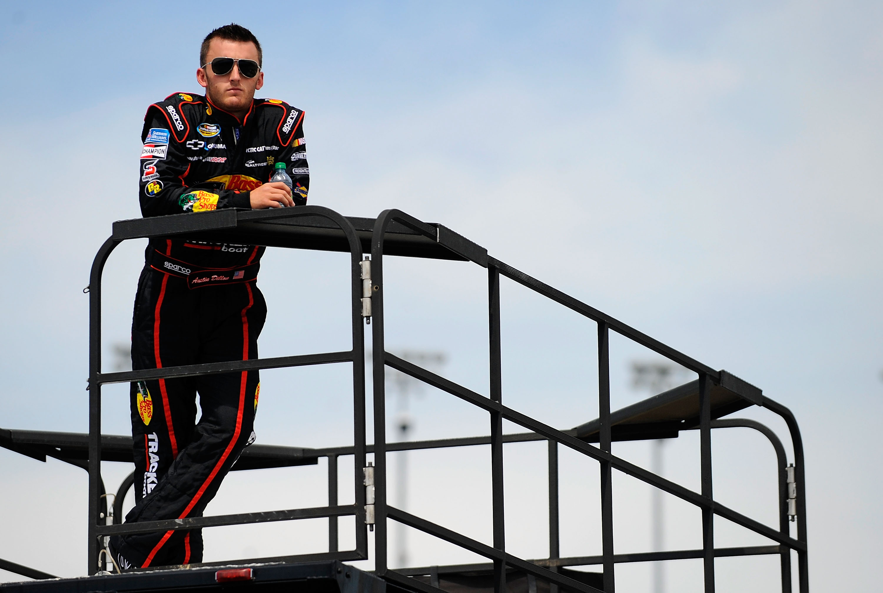 KANSAS CITY, KS - JUNE 03:  Austin Dillon, driver of the #3 Bass Pro Shops/NWTF Chevrolet, looks on during practice for the NASCAR Camping World Truck Series O'Reilly Auto Parts 250 at Kansas Speedway on June 3, 2011 in Kansas City, Kansas.  (Photo by Jar