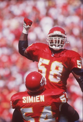 10 Sep 1995:  Linebacker Derrick Thomas of the Kansas City Chiefs celebrates during the Chiefs 21-17 win over the New York Giants at Arrowhead Stadium in Kansas City, Missouri.   Mandatory Credit: Jonathan Daniel/ALLSPORT