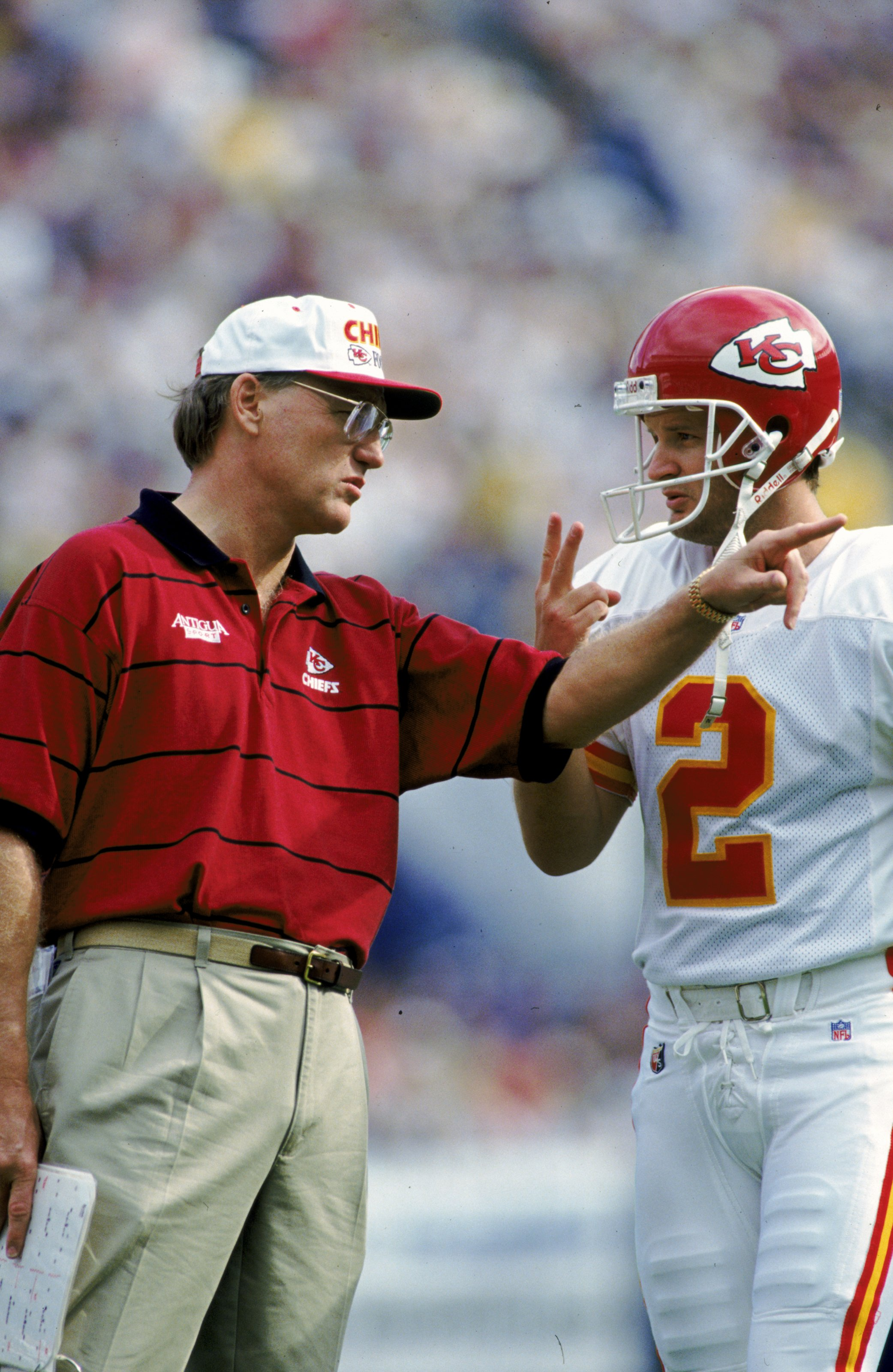 12 Nov 1995: Marty Schottenheimer #2 of the Kansas City Chiefs talks to Lin Elliot during the game against the San Diego Chargers at the Jack Murphy Sradium in San Diego, California. The Chiefs defeated the Chargers 22-7.