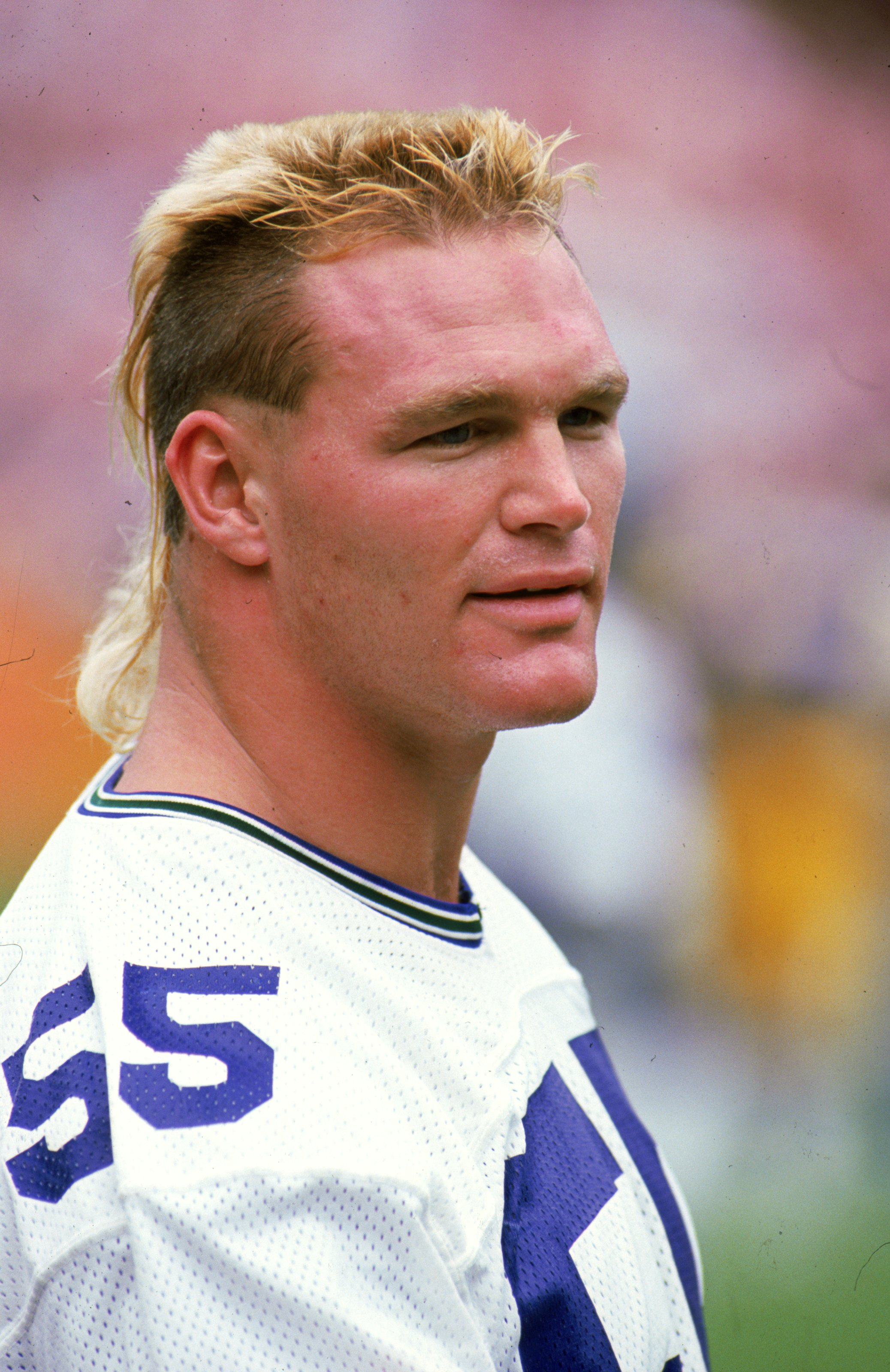 23 Oct 1988: A close up of Brian Bosworth #55 of the Seattle Seahawks as he looks on during the game against the Los Angeles Rams. The Rams defeated the Seahawks 31-10.