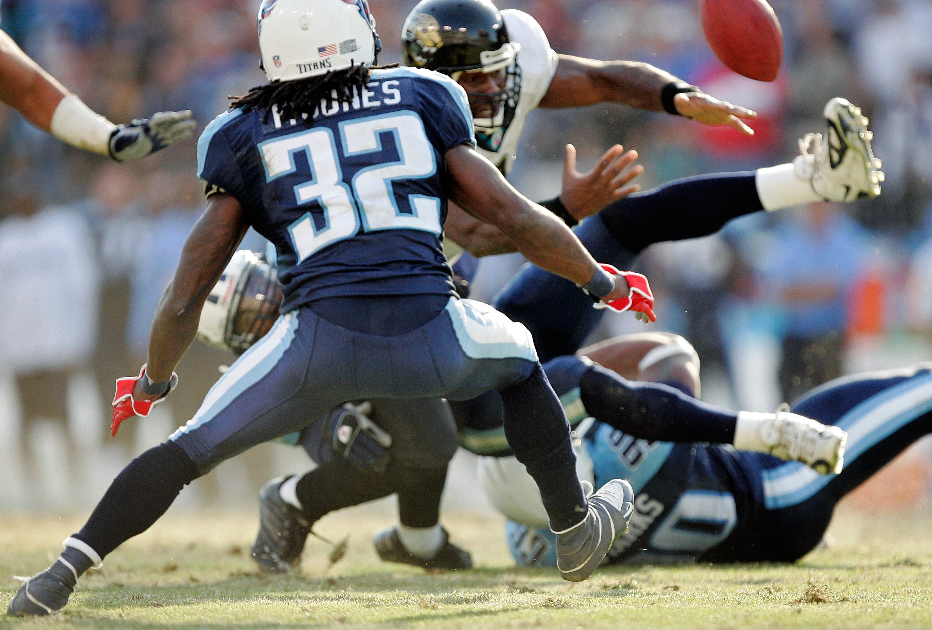 NASHVILLE, TN - DECEMBER 17:  Quarterback David Garrard #9 of the Jacksonville Jaguars fumbles the ball resulting in a 92-yard touchdown by the Tennessee Titans in the third quarter on December 17, 2006 at LP Field in Nashville, Tennessee. The Titans won