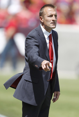 SANDY, UT - MAY 7: Jason Kreis head coach of Real Salt Lake gestures during a game against Chivas USA during the first half of an MLS soccer game May 7, 2011 at Rio Tinto Stadium in Sandy, Utah. Real Salt Lake beat Chivas USA 1-0. (Photo by George Frey/Ge