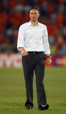 BASEL, SWITZERLAND - JUNE 21:  Marco van Basten coach of Netherlands looks on after defeat in the UEFA EURO 2008 Quarter Final match between Netherlands and Russia at St. Jakob-Park on June 21, 2008 in Basel, Switzerland.  (Photo by Laurence Griffiths/Get