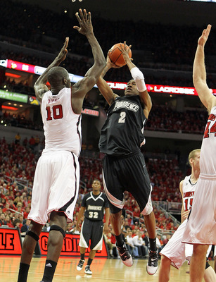 LOUISVILLE, KY - MARCH 02:  Marshon Brooks #2 of the Providence Friars shoots the ball during the Big East Conference game against the Louisville Cardinals at the KFC Yum! Center on March 2, 2011 in Louisville, Kentucky.  Louisville won 87-60.  (Photo by