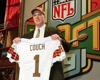 17 Apr 1999:  #1 pick Tim Couch of the Cleveland Browns holds up his Browns jersey during the NFL Draft at Madison Square Garden in New York, New York. Mandatory Credit: Ezra O. Shaw  /Allsport
