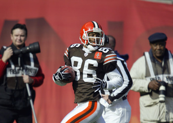 CLEVELAND - NOVEMBER 3:  Wide receiver Dennis Northcutt #86 of the Cleveland Browns returns Pittsburgh's Josh Miller's punt 87 yards for a touchdown to give them an early 7-0 lead during the NFL game at Cleveland Browns Stadium on November 3, 2002 in Clev
