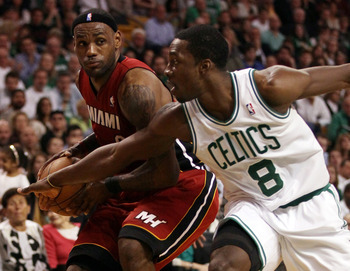 BOSTON, MA - MAY 07:  Jeff Green #8 of the Boston Celtics tries to get the ball from LeBron James #6 of the Miami Heat  in Game Three of the Eastern Conference Semifinals in the 2011 NBA Playoffs on May 7, 2011 at the TD Garden in Boston, Massachusetts.