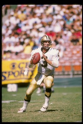 9 Oct 1988: Quarterback Bobby Hebert of the New Orleans Saints prepares to pass the ball during a game against the San Diego Chargers at Jack Murphy Stadium in San Diego, California. The Saints won the game 23-17.