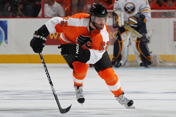PHILADELPHIA, PA - APRIL 26:  Ville Leino #22 of the Philadelphia Flyers skates down the ice against the Buffalo Sabres in Game Seven of the Eastern Conference Quarterfinals during the 2011 NHL Stanley Cup Playoffs at Wells Fargo Center on April 26, 2011