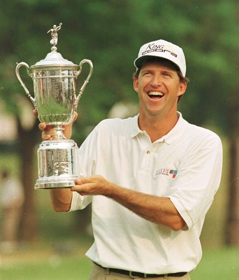 16 Jun 1996:  Steve Jones of America holds the US Open trophy aloft on the 18th green after victory by one shot in the final round of the U.S. Open at Oakland Hills Country Club in Bloomfield Hills, Michigan.  Mandatory Credit: Stephen Munday/ALLSPORT
