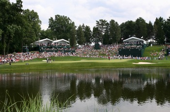 BETHESDA, MD - JULY 4 : A view of the 10th hole during the third round of the AT&T National hosted by Tiger Woods at Congressional Country Club on July 4, 2009 in Bethesda, Maryland. (Photo by Hunter Martin/Getty Images)