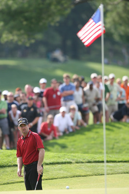 BETHESDA, MD - JULY 04:  Rod Pampling watches his shot during the third round of the AT&T National hosted by Tiger Woods at Congressional Country Club on July 4, 2009 in Bethesda, Maryland.  (Photo by Hunter Martin/Getty Images)