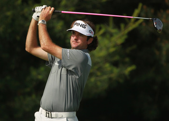DUBLIN, OH - JUNE 02:  Bubba Watson hits his tee shot on the 17th hole during the first round of The Memorial Tournament presented by Nationwide Insurance at the Muirfield Village Golf Club on June 2, 2011 in Dublin, Ohio.  (Photo by Scott Halleran/Getty