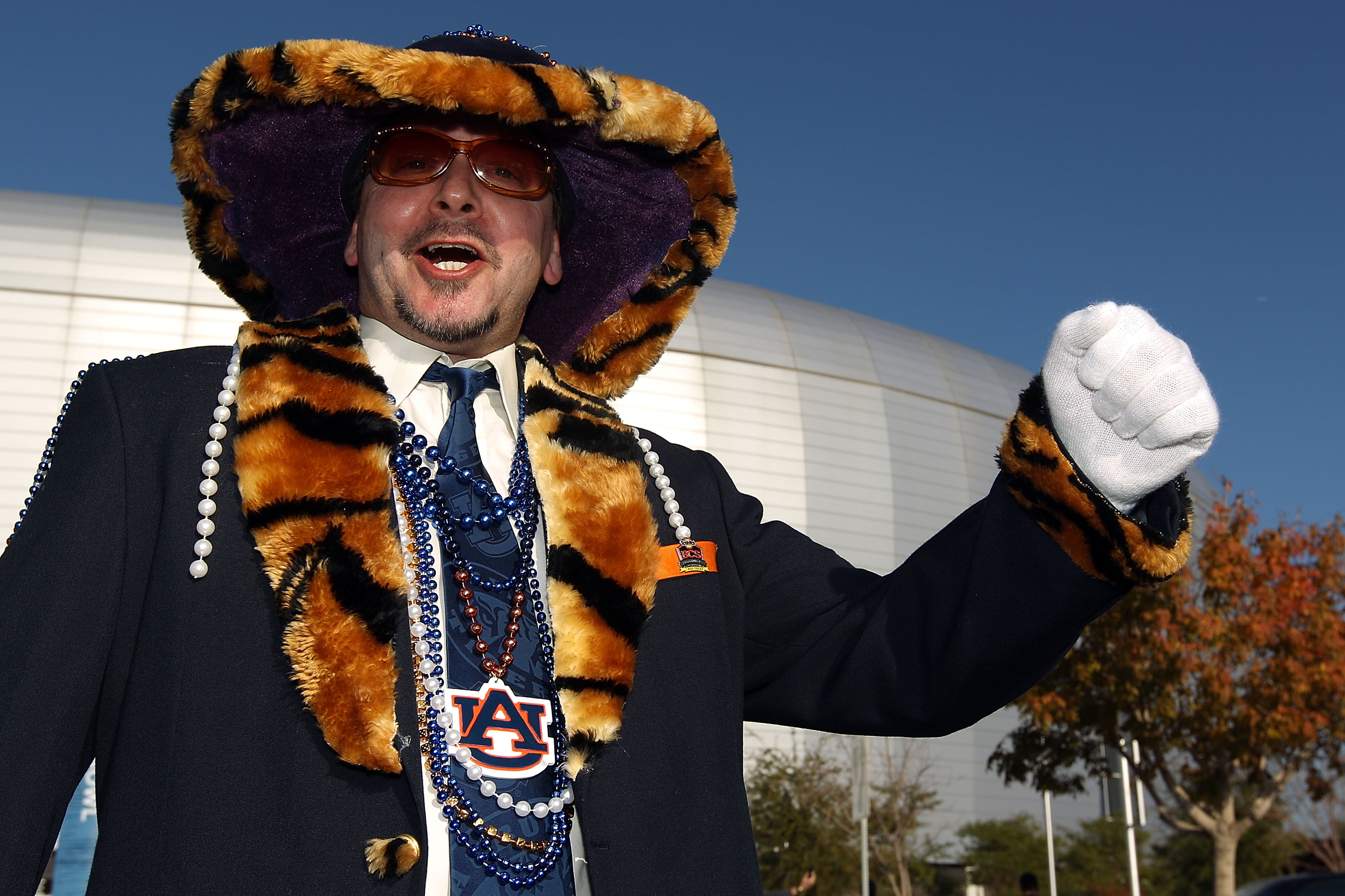 GLENDALE, AZ - JANUARY 10:  Auburn Tigers fan Stan White poses outside before the Tostitos BCS National Championship Game between the Tigers and the Oregon Ducks at University of Phoenix Stadium on January 10, 2011 in Glendale, Arizona.  (Photo by Christi