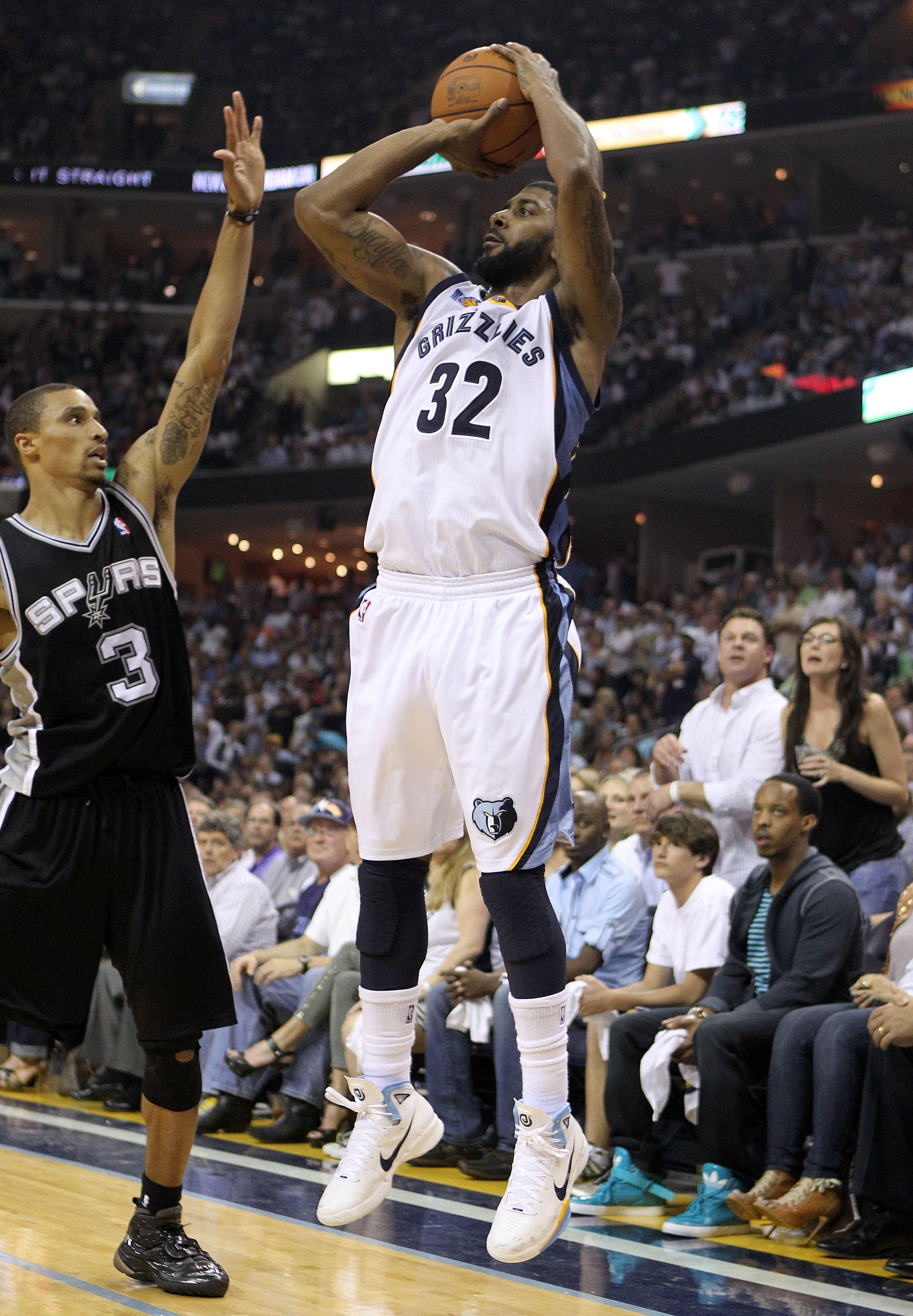 MEMPHIS, TN - APRIL 25:  O.J. Mayo #32 of the   Memphis Grizzlies shoots the ball during the game against the San Antonio Spurs in Game Four of the Western Conference Quarterfinals in the 2011 NBA Playoffs at FedExForum on April 25, 2011 in Memphis, Tenne