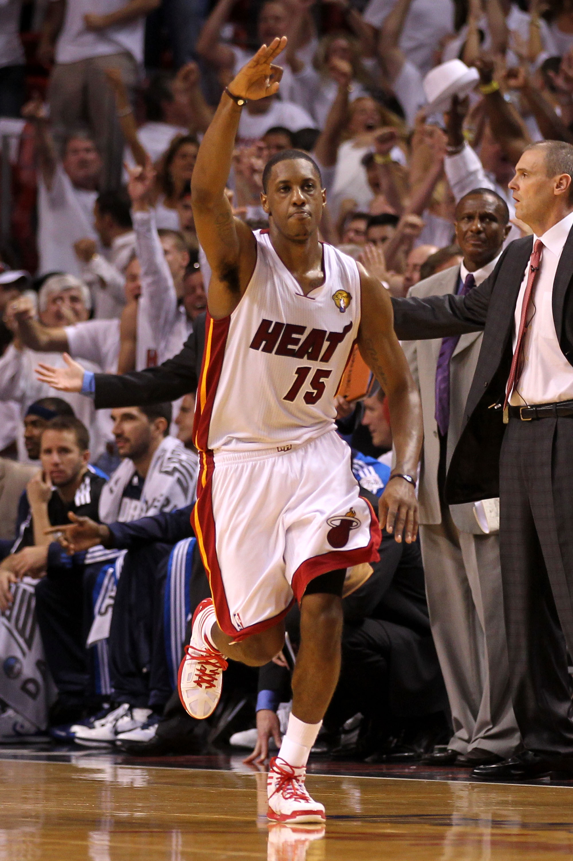 MIAMI, FL - JUNE 02:  Mario Chalmers #15 of the Miami Heat reacts against the Miami Heat in Game Two of the 2011 NBA Finals at American Airlines Arena on June 2, 2011 in Miami, Florida. The Mavericks won 95-93. NOTE TO USER: User expressly acknowledges an