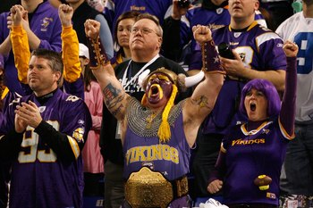 MINNEAPOLIS - JANUARY 17:  Fans of the Minnesota Vikings cheer during the game against the Dallas Cowboys during the NFC Divisional Playoff Game at Hubert H. Humphrey Metrodome on January 17, 2010 in Minneapolis, Minnesota. The Vikings defeated the Cowboy